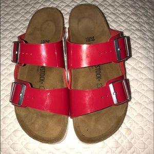 Birkenstock Arizona Birko-Flor red sandals 39=8